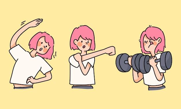 Linda chica ejercicio saludable ejercicio estirando lindas actividades de dibujos animados