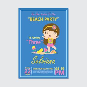 Linda chica en fiesta en la playa para tarjeta de cumpleaños