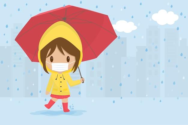 Linda chica enferma jugando con paraguas rojo bajo la lluvia.