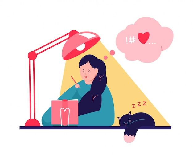 Linda chica escribiendo en diario o diario. ilustración de dibujos animados de vector con mujer en la mesa y gato durmiendo.