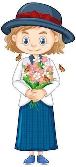 Linda chica con flores en blanco