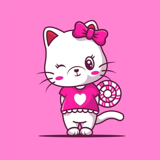 Linda chica gato con caramelos