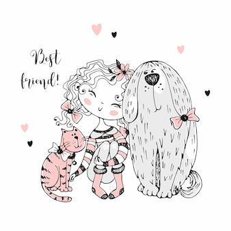 Linda chica con un gato y un perro.