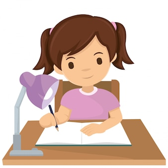 Linda chica hacer la tarea en la noche