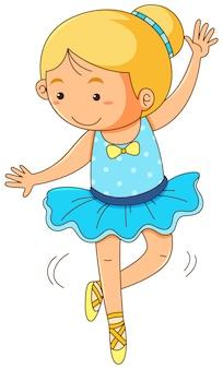 Linda chica haciendo ballet sobre fondo blanco
