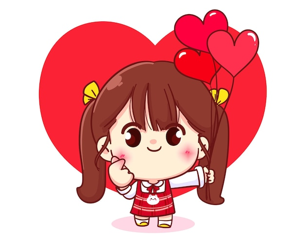 Linda chica haciendo un corazón con sus manos, feliz día de san valentín, ilustración de personaje de dibujos animados