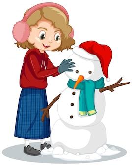 Linda chica haciendo muñeco de nieve en blanco