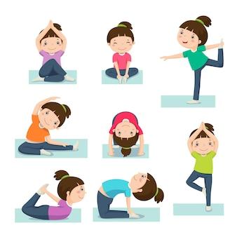 Linda chica haciendo yoga aislado en blanco