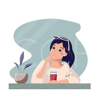 Linda chica hermosa pensativa de dibujos animados tomando café en un café.