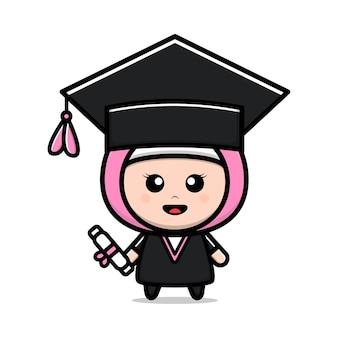 Linda chica hijab feliz graduación ilustración vectorial