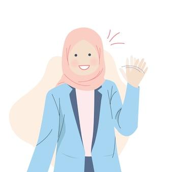 Linda chica hijab sonriendo y agitando la mano
