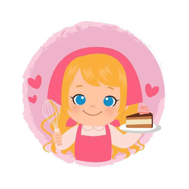 Linda chica horneando un pastel de chocolate. logotipo de panadería chef mujer rubia. diseño plano.