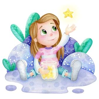 Linda chica con ilustración acuarela estrella bebé