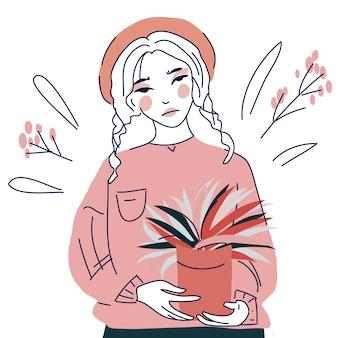 Linda chica con ilustración de arte de línea de planta