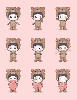 Linda chica con ilustración de dibujos animados de traje de oso
