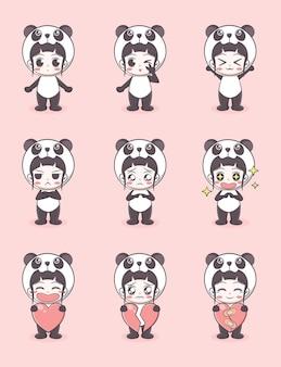 Linda chica con ilustración de dibujos animados de traje de panda