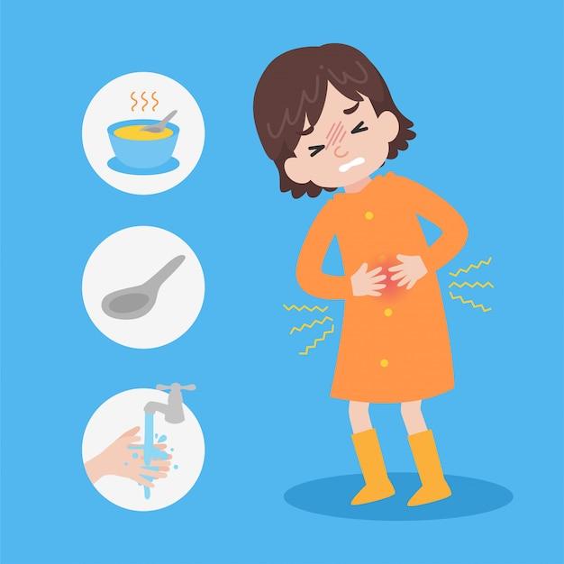 Linda chica con impermeable naranja tiene dolor de estómago bajo la lluvia
