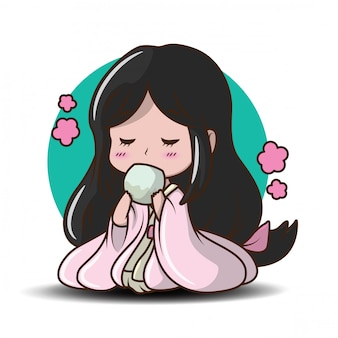 Linda chica japonesa en traje de princesa ilustración