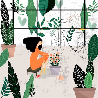 Linda chica joven planta jardín