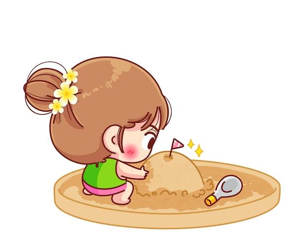 Linda chica jugando arena montañas songkran festival signo de ilustración de dibujos animados de tailandia