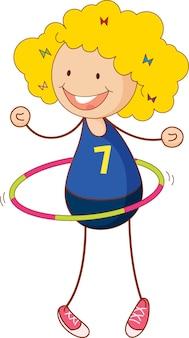 Linda chica jugando personaje de dibujos animados de hula hoop en estilo doodle dibujado a mano aislado