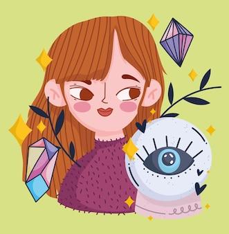 Linda chica mágica con bola de cristal y dibujos animados afortunados