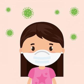 Linda chica con mascarilla con partículas covid 19 ilustración diseño