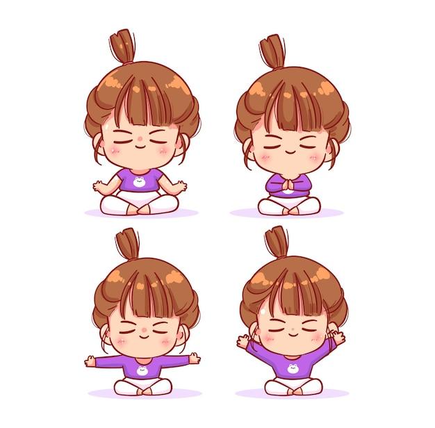 Linda chica meditando ilustración de arte de dibujos animados de colección