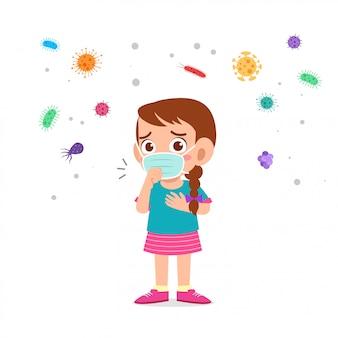 Linda chica de niños con mascarilla salud