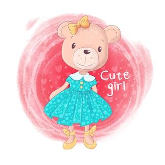 Linda chica de oso de peluche de dibujos animados sobre un fondo rosa