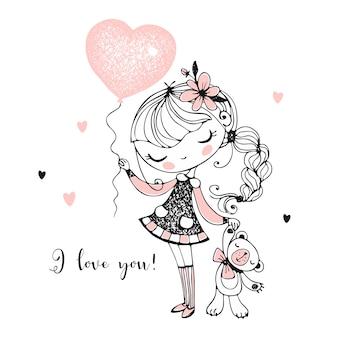 Linda chica con un oso de peluche y un globo en forma de corazón.