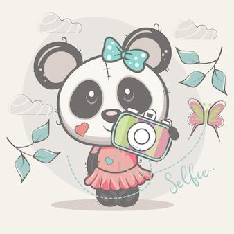 Linda chica panda autofoto