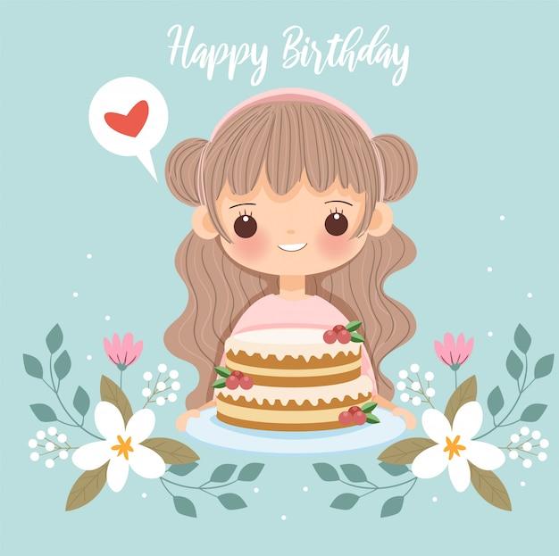 Linda chica con pastel y flores para la tarjeta de feliz cumpleaños