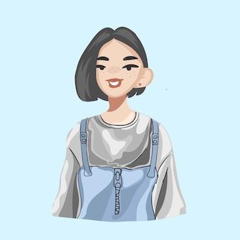 Linda chica con pelo corto aislado en azul