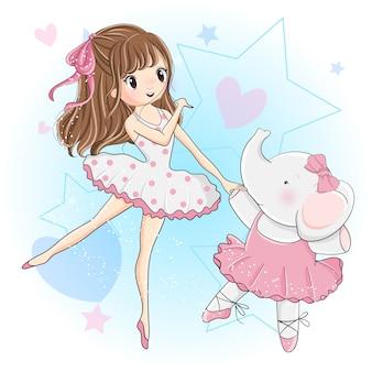 Linda chica y pequeño elefante están bailando ballet