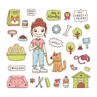 Linda chica con un perro para pasear iconos de objetos accesorios para perros