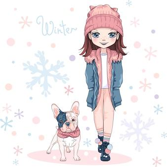 Linda chica con perro