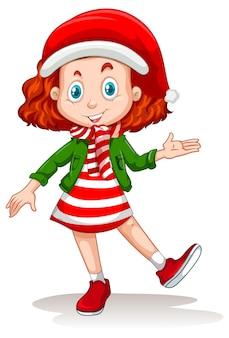 Linda chica con personaje de dibujos animados de disfraces de navidad