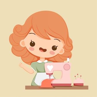 Linda chica con personaje de dibujos animados de la máquina de coser