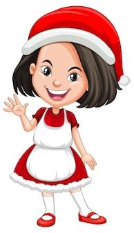 Linda chica en personaje de dibujos animados de traje de navidad