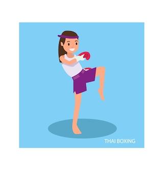Una linda chica con posturas de artes marciales está lista para pelear
