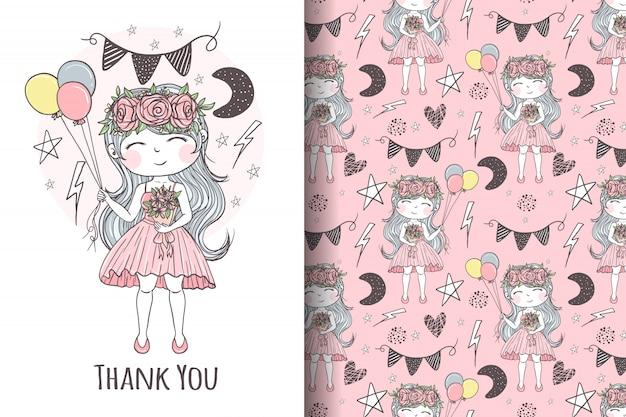 Linda chica con ramo de flores junto con ilustraciones y patrones de globos