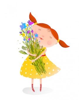 Linda chica con ramo de flores
