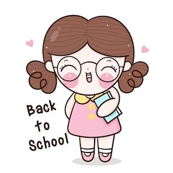 Linda chica de regreso a la escuela con libro feliz emoción