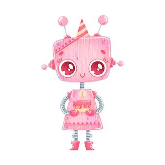 Linda chica de robot rosa de dibujos animados cumpleaños fiesta aislada