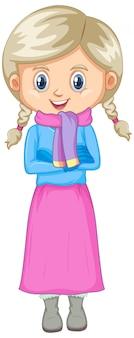 Linda chica en ropa de invierno aislada