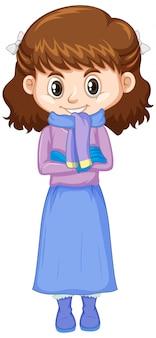 Linda chica con ropa de invierno en blanco