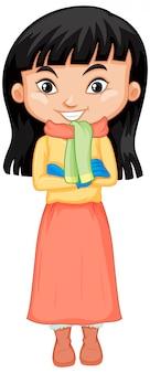 Linda chica con ropa de invierno con bufanda y suéter