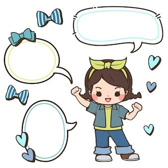 Linda chica en ropa de mezclilla con burbujas de discurso con arcos y corazones