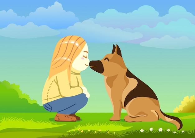 Linda chica rubia besando a su perro pastor alemán, estilo de dibujos animados feliz